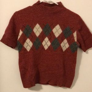 Sweaters - Light red argyle sweater